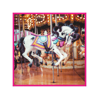 Pink Carousel Horse on the merry-go-round Canvas Print
