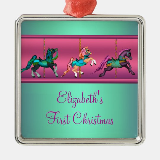 Pink Carousel Teal & Purple Baby's Frist Christmas Metal Ornament