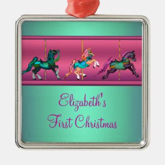 Pink Carousel Teal & Purple Baby's Frist Christmas Square Metal Christmas Ornament