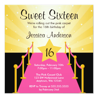 Pink Carpet Hollywood Sweet 16 Birthday Party 5.25x5.25 Square Paper Invitation Card