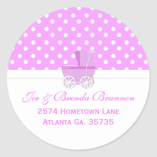 Pink Carriage and Polka Dots Address Labels Classic Round Sticker