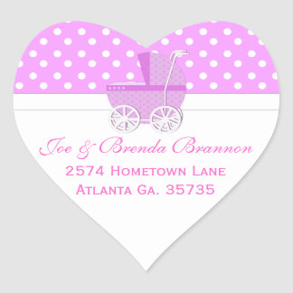 Pink Carriage and Polka Dots Address Labels Heart Sticker