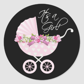 Pink Carriage Baby Classic Round Sticker