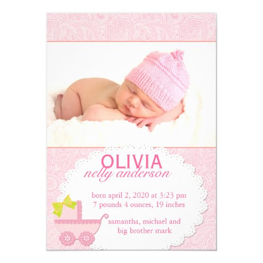 Pink Carriage Baby Girl Photo Birth Announcement