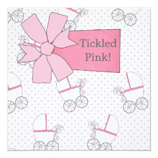 Pink Carriage Baby Girl Shower 5.25x5.25 Square Paper Invitation Card
