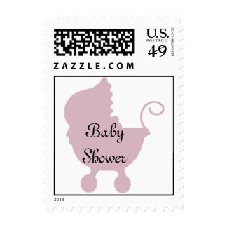 Pink Carriage Baby Shower Stamps