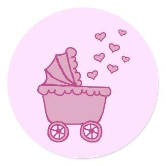 Pink Carriage & Hearts Envelope Seals sticker