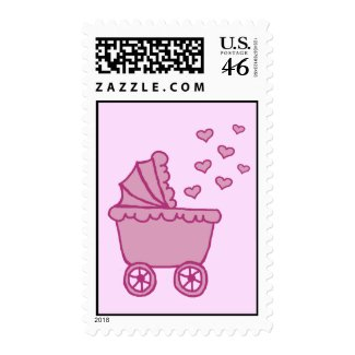 Pink Carriage & Hearts Postage Stamps stamp
