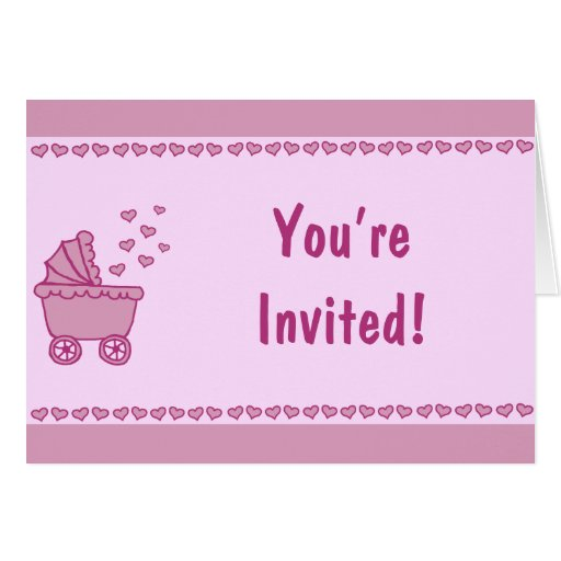 Pink Carriage & Hearts Shower Invitation Stationery Note Card