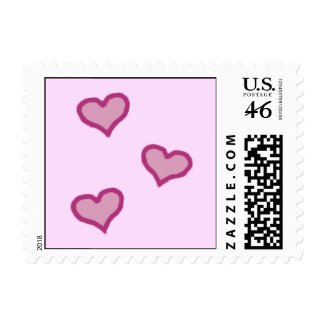 Pink Carriage & Hearts Small Postage Stamps stamp