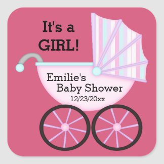 its a girl baby shower stickers zazzle