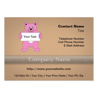 Pink Cartoon Bear with Sign (add your own text) Business Cards