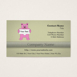 Pink Cartoon Bear with Sign (add your own text) Business Card