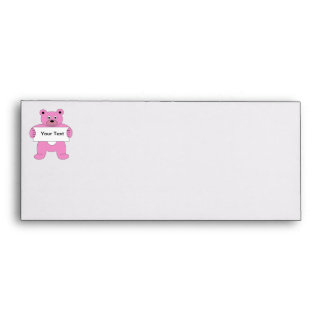 Pink Cartoon Bear with Sign (add your own text) Envelope