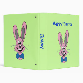 Pink Cartoon Bunny With Blue Bow Tie Binder