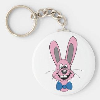 Pink Cartoon Bunny With Blue Bow Tie Keychain