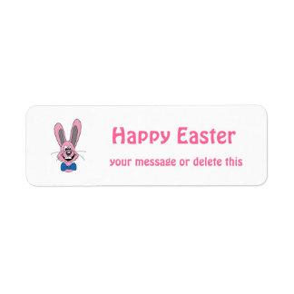 Pink Cartoon Bunny With Blue Bow Tie Return Address Label
