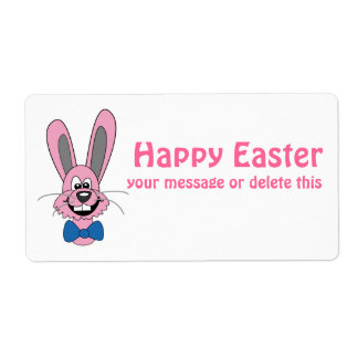 Pink Cartoon Bunny With Blue Bow Tie Personalized Shipping Labels