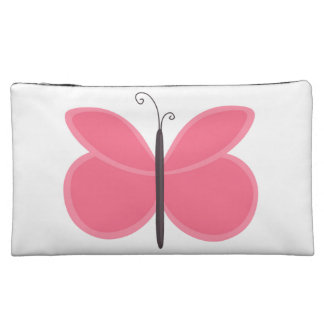 Pink Cartoon Butterfly Cosmetic Bag