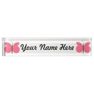Pink Cartoon Butterfly Nameplate