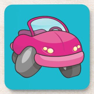 Pink Cartoon Car Beverage Coaster