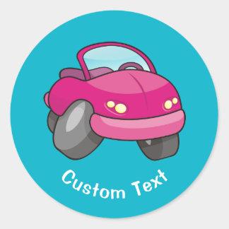 Pink Cartoon Car Classic Round Sticker