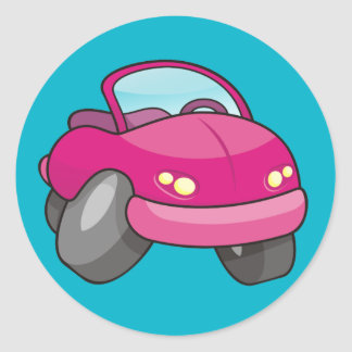 Pink Cartoon Car Classic Round Sticker