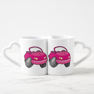 Pink Cartoon Car Coffee Mug Set