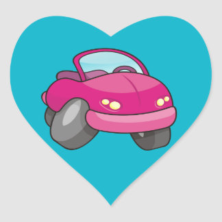 Pink Cartoon Car Heart Sticker