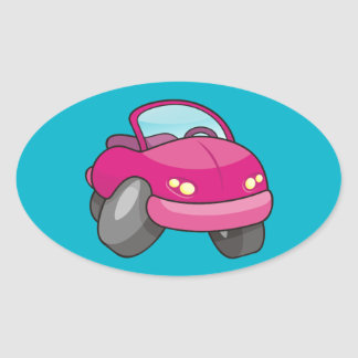 Pink Cartoon Car Oval Sticker