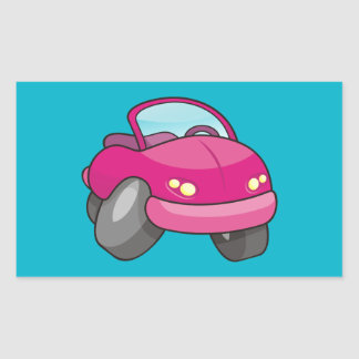 Pink Cartoon Car Rectangular Sticker