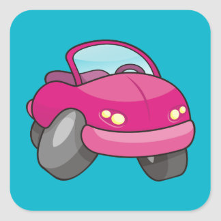 Pink Cartoon Car Square Sticker