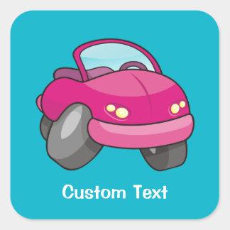 Pink Cartoon Car Square Sticker
