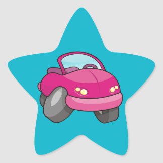 Pink Cartoon Car Star Sticker