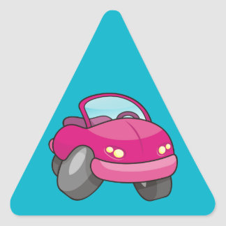 Pink Cartoon Car Triangle Sticker