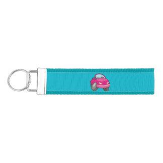 Pink Cartoon Car Wrist Keychain