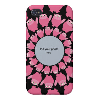 Pink Cartoon Cats Add Your Photo Template iPhone 4 Covers