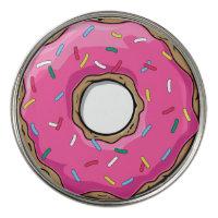 Pink Cartoon Donut with Sprinkles Golf Ball Marker