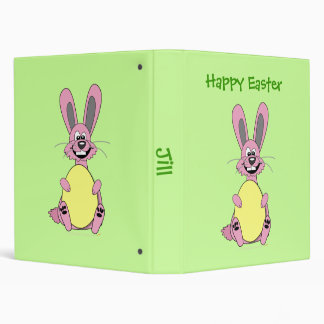 Pink Cartoon Easter Bunny Holding Egg 3 Ring Binder
