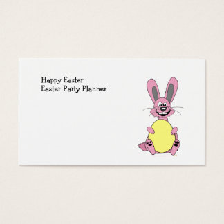 Pink Cartoon Easter Bunny Holding Egg Business Card