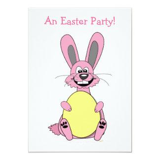 Pink Cartoon Easter Bunny Holding Egg Card