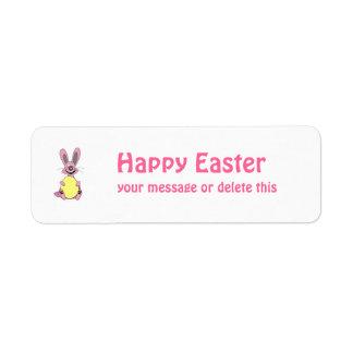 Pink Cartoon Easter Bunny Holding Egg Return Address Labels