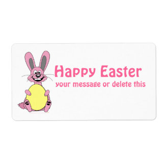 Pink Cartoon Easter Bunny Holding Egg Shipping Labels