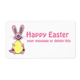 Pink Cartoon Easter Bunny Holding Egg Label