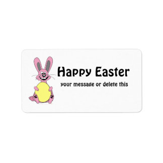 Pink Cartoon Easter Bunny Holding Egg Personalized Address Labels