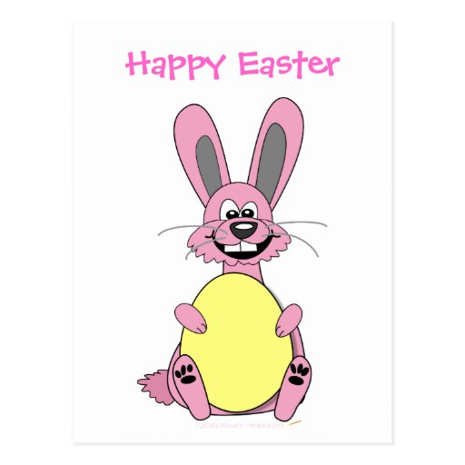 Pink Cartoon Easter Bunny Holding Egg Postcard
