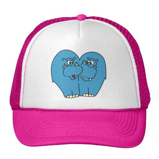 Pink Cartoon Hippos in Love Kids Hat