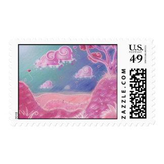 Pink cartoon landscape Postage Postage
