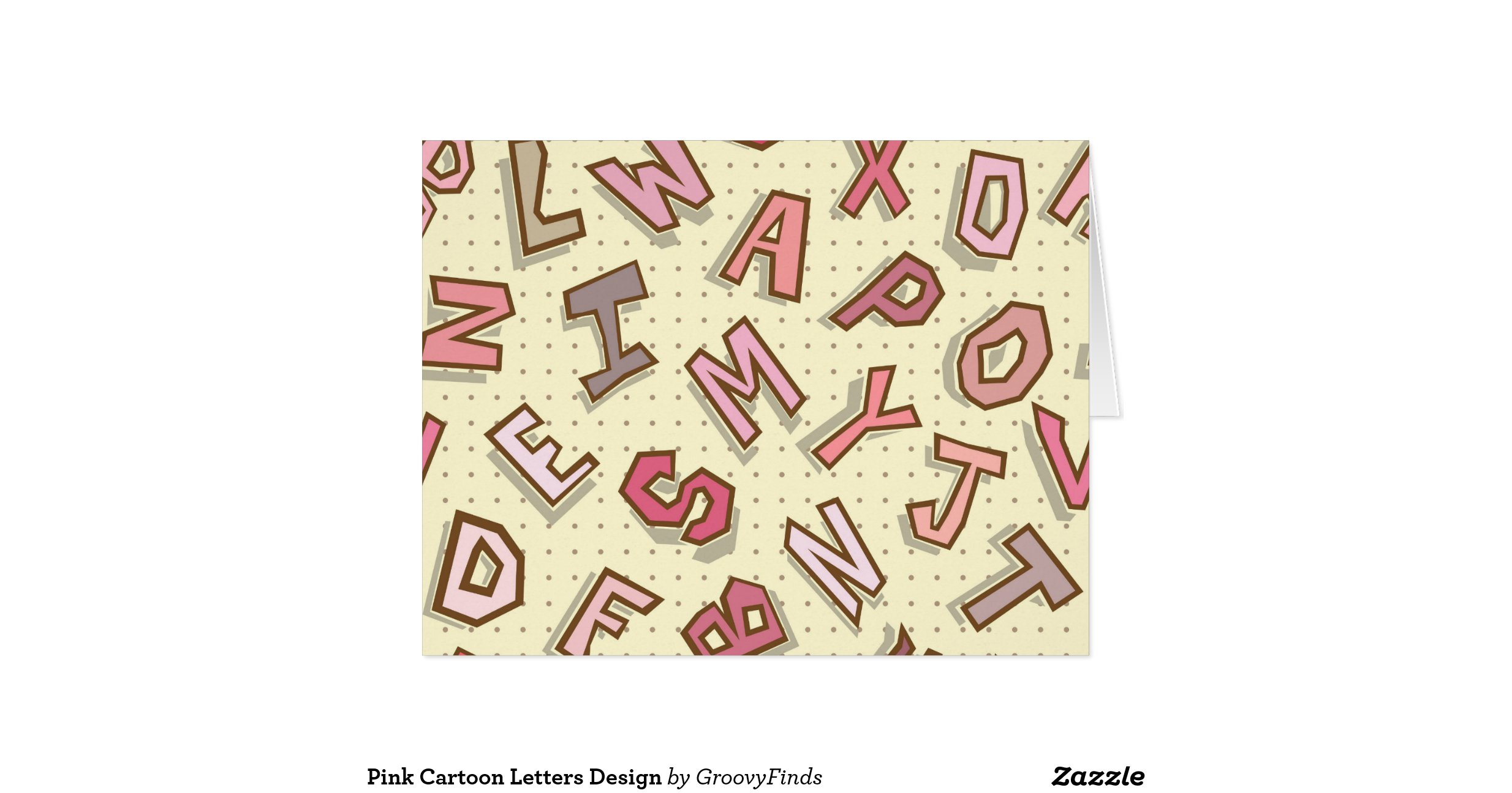 Pink Cartoon Letters Design Large Greeting Card