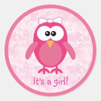 Pink Cartoon Owl & Flowers Its A Girl New Baby Sticker